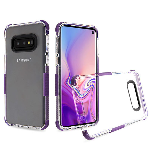Airium Bumper Sturdy Candy Skin Cover for Samsung Galaxy S10E - Transparent Clear / Purple
