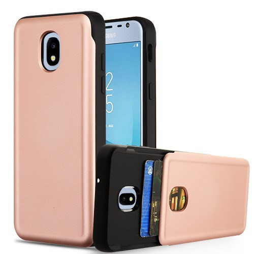 Airium Wallet Hybrid Protector Cover (with Double Card Holder) for Samsung J337 (Galaxy J3 (2018)) - Rose Gold / Black