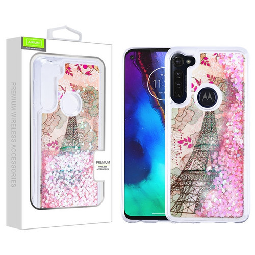 Airium Quicksand Glitter Hybrid Protector Cover for Motorola Moto G Stylus - Eiffel Tower & Pink Hearts