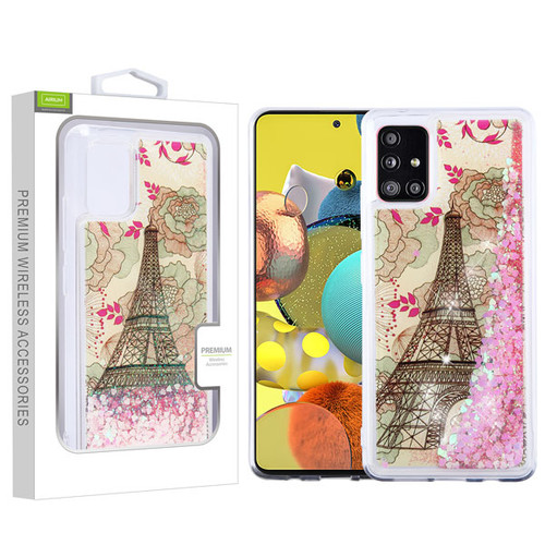 Airium Quicksand Glitter Hybrid Protector Cover for Samsung Galaxy A51 5G - Eiffel Tower & Pink Hearts