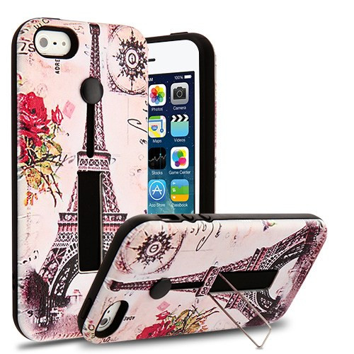 Airium Finger Grip Hybrid Protector Cover (with Silicone Strap & Metal Stand) for Apple iPhone 5s/5 - Paris Memory / Black