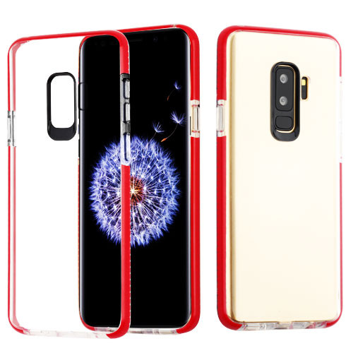 Airium Bumper Sturdy Candy Skin Cover for Samsung Galaxy S9 - Transparent Clear / Red