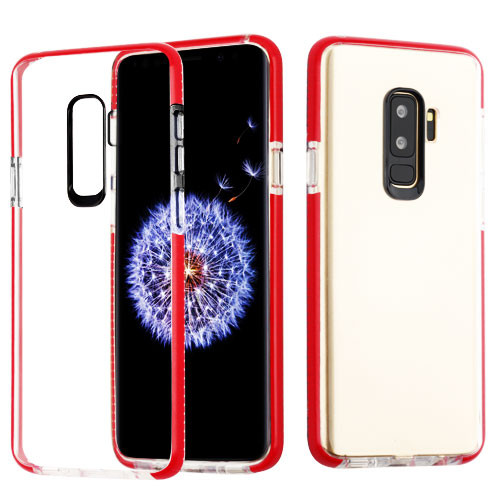 Airium Bumper Sturdy Candy Skin Cover for Samsung Galaxy S9 Plus - Transparent Clear / Red