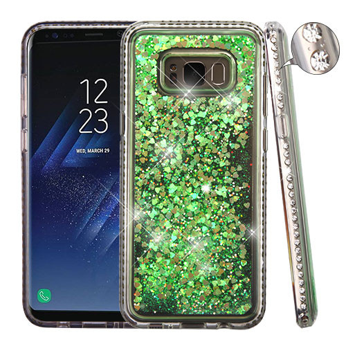 Airium Glitter Hybrid Protector Cover for Samsung Galaxy S8 Plus - Diamante Frame (T-Clear) / Quicksand (Fluorescent Green Hearts)