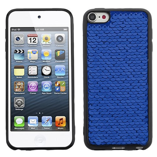 Airium Candy Skin Cover for Apple iPod touch (6th generation) - Blue / Silver Double-Sided Sparkling Sequin (Black)
