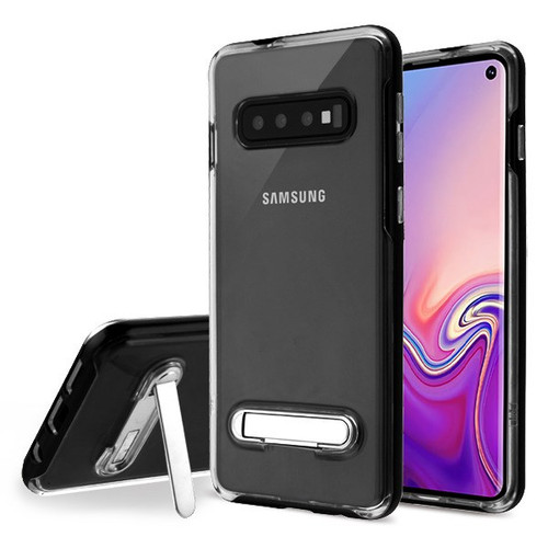 Airium Hybrid Protector Cover (with Magnetic Metal Stand) for Samsung Galaxy S10 - Black / Transparent Clear