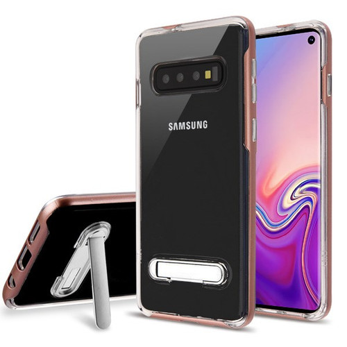 Airium Hybrid Protector Cover (with Magnetic Metal Stand) for Samsung Galaxy S10 - Rose Gold / Transparent Clear