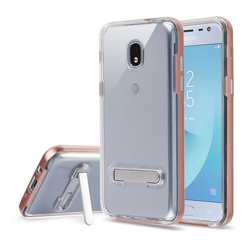 Airium Hybrid Protector Cover (with Magnetic Metal Stand) for Samsung J337 (Galaxy J3 (2018)) - Rose Gold / Transparent Clear