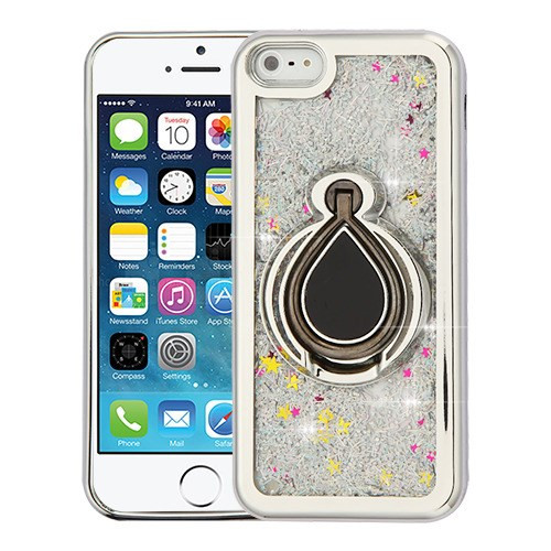 Airium Quicksand Glitter Hybrid Protector Cover for Apple iPhone 5s/5 - Electroplating Silver / Silver Confetti