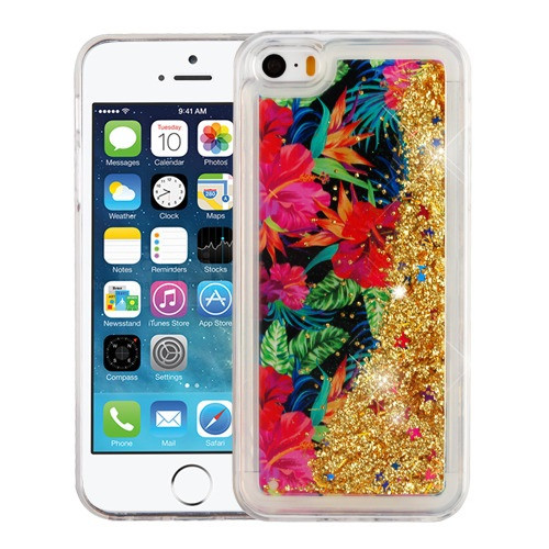 Airium Quicksand Glitter Hybrid Protector Cover for Apple iPhone 5s/5 - Electric Hibiscus & Gold
