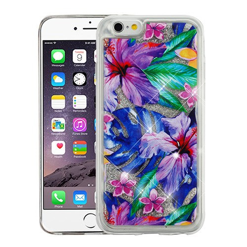 Airium Quicksand Glitter Hybrid Protector Cover for Apple iPhone 6s Plus/6 Plus - Watercolor Hibiscus & Silver