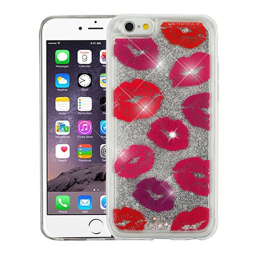 Airium Quicksand Glitter Hybrid Protector Cover for Apple iPhone 6s Plus/6 Plus - Blissful Kisses & Silver