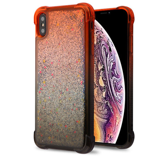 Airium Quicksand Glitter Hybrid Protector Cover for Apple iPhone XS Max - Red and Black / Silver Confetti