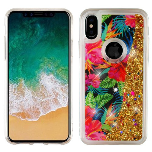 Airium Quicksand Glitter Hybrid Protector Cover for Apple iPhone XS/X - Electric Hibiscus & Gold