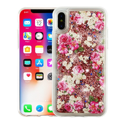 Airium Quicksand Glitter Hybrid Protector Cover for Apple iPhone XS/X - European Rose & Rose Gold