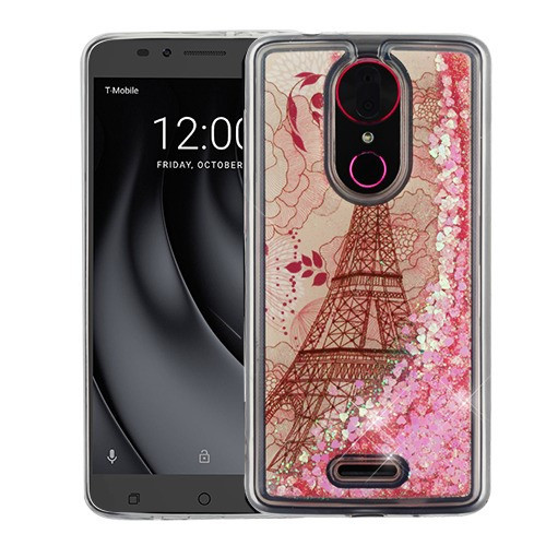 Airium Quicksand Glitter Hybrid Protector Cover for Coolpad C3701A (Revvl Plus) - Eiffel Tower & Pink Hearts