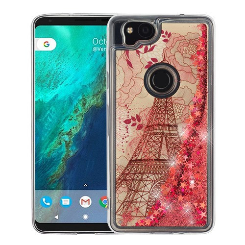 Airium Quicksand Glitter Hybrid Protector Cover for Google Pixel 2 - Eiffel Tower & Rose Gold Stars