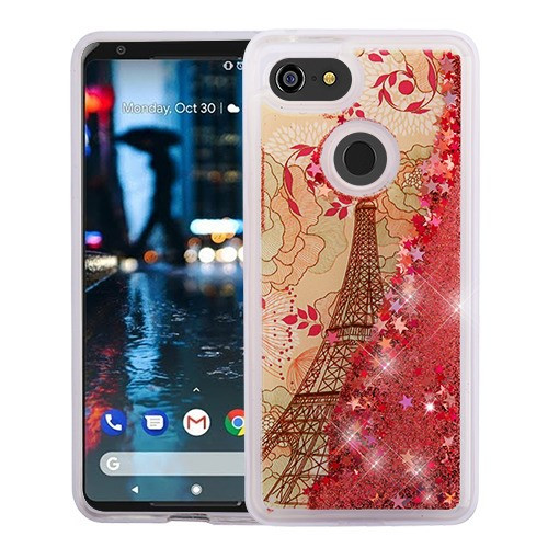 Airium Quicksand Glitter Hybrid Protector Cover for Google Pixel 3 - Eiffel Tower & Rose Gold Stars