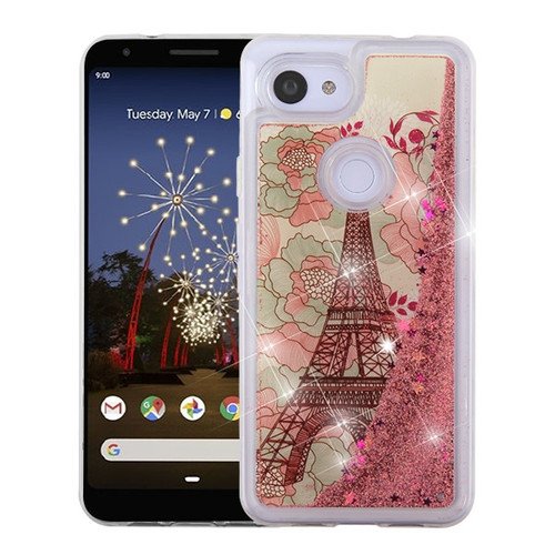 Airium Quicksand Glitter Hybrid Protector Cover for Google Pixel 3a - Eiffel Tower & Rose Gold Stars