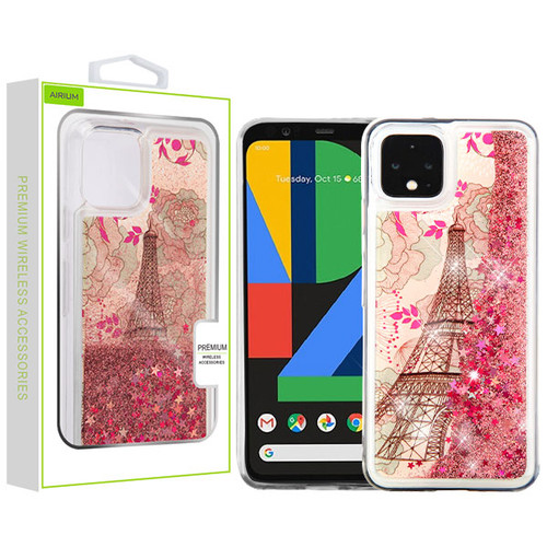 Airium Quicksand Glitter Hybrid Protector Cover for Google Pixel 4 - Eiffel Tower & Rose Gold Stars