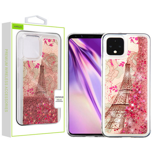Airium Quicksand Glitter Hybrid Protector Cover for Google Pixel 4 XL - Eiffel Tower & Rose Gold Stars