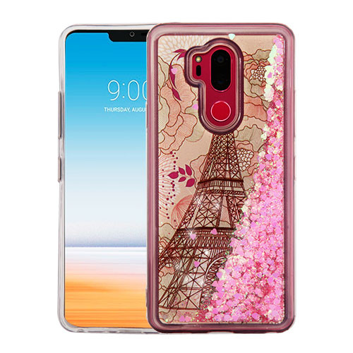 Airium Quicksand Glitter Hybrid Protector Cover for Lg G710 (G7 Thinq) - Eiffel Tower & Pink Hearts