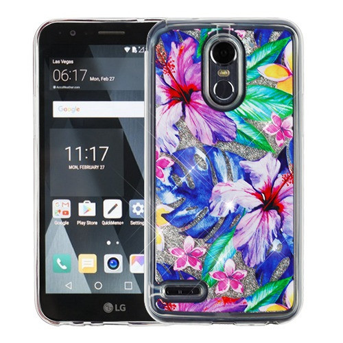 Airium Quicksand Glitter Hybrid Protector Cover for Lg LS777 (Stylo 3) - Watercolor Hibiscus & Silver