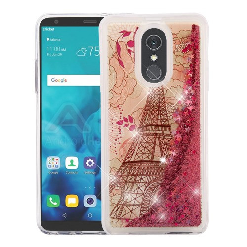 Airium Quicksand Glitter Hybrid Protector Cover for Lg Stylo 4 - Eiffel Tower & Rose Gold Stars