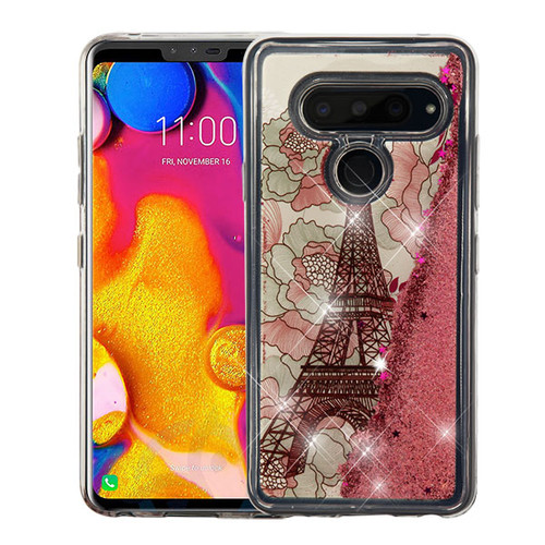 Airium Quicksand Glitter Hybrid Protector Cover for Lg V40 ThinQ - Eiffel Tower & Rose Gold Stars