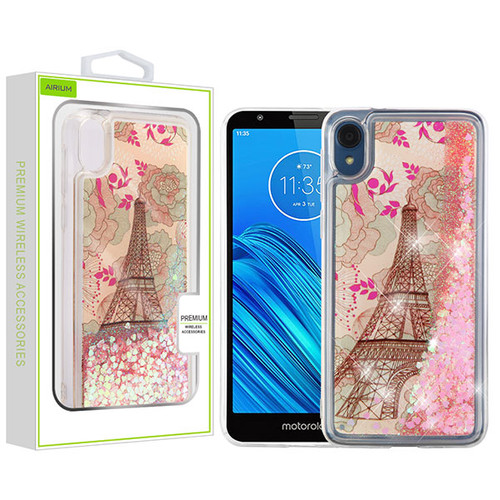 Airium Quicksand Glitter Hybrid Protector Cover for Motorola Moto E6 - Eiffel Tower & Pink Hearts