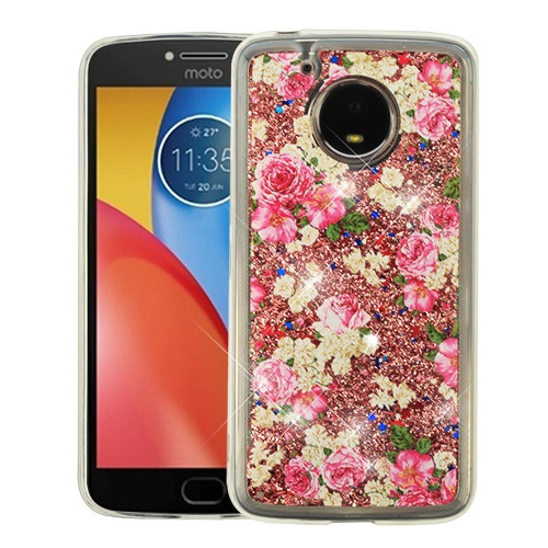 Airium Quicksand Glitter Hybrid Protector Cover for Motorola XT1773 (Moto E4 Plus) - European Rose & Rose Gold