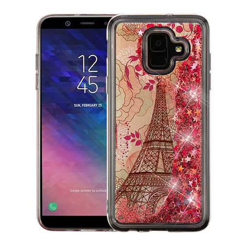 Airium Quicksand Glitter Hybrid Protector Cover for Samsung Galaxy A6 (2018) - Eiffel Tower & Rose Gold Stars