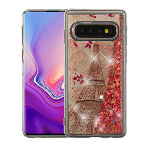 Airium Quicksand Glitter Hybrid Protector Cover for Samsung Galaxy S10 - Eiffel Tower & Rose Gold Stars