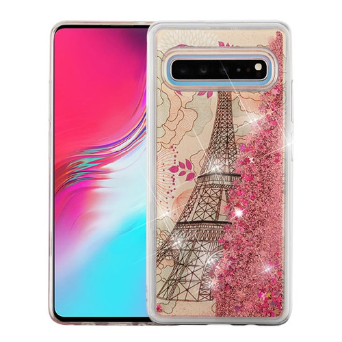 Airium Quicksand Glitter Hybrid Protector Cover for Samsung Galaxy S10 5G - Eiffel Tower & Rose Gold Stars