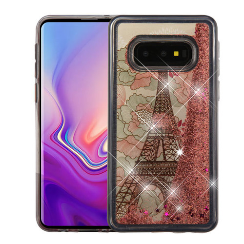 Airium Quicksand Glitter Hybrid Protector Cover for Samsung Galaxy S10E - Eiffel Tower & Rose Gold Stars