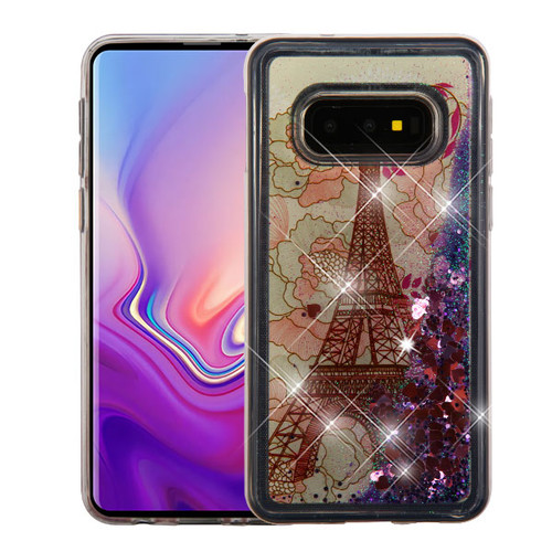 Airium Quicksand Glitter Hybrid Protector Cover for Samsung Galaxy S10E - Eiffel Tower & Pink Hearts