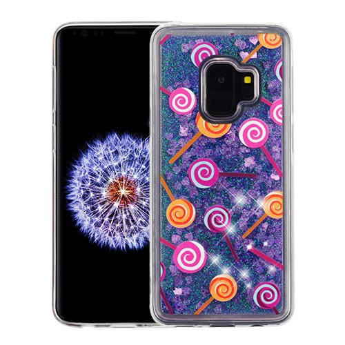 Airium Glitter Hybrid Protector Cover for Samsung Galaxy S9 - Lollipop & Purple Quicksand (Hearts)