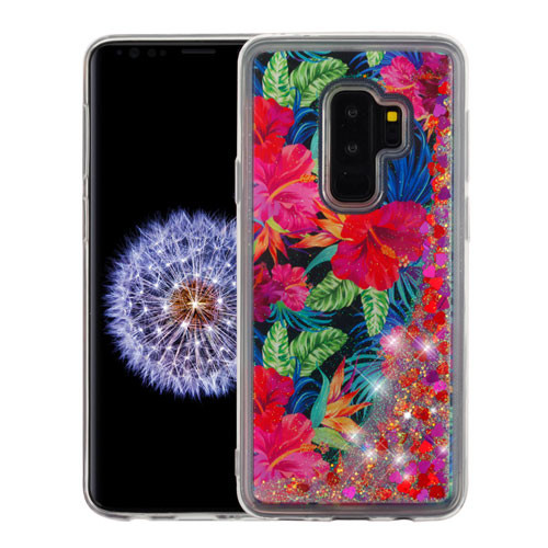 Airium Quicksand Glitter Hybrid Protector Cover for Samsung Galaxy S9 Plus - Electric Hibiscus & Magenta Hearts
