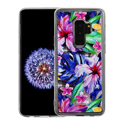Airium Quicksand Glitter Hybrid Protector Cover for Samsung Galaxy S9 Plus - Watercolor Hibiscus & Silver