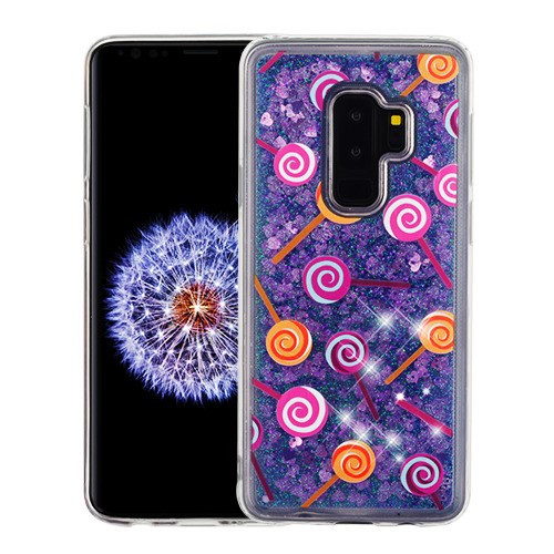 Airium Glitter Hybrid Protector Cover for Samsung Galaxy S9 Plus - Lollipop & Purple Quicksand (Hearts)