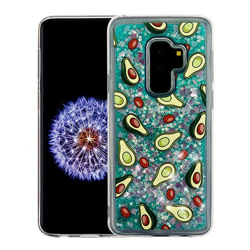 Airium Glitter Hybrid Protector Cover for Samsung Galaxy S9 Plus - Avocado & Green Quicksand (Hearts)