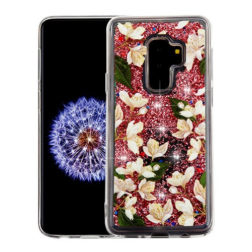 Airium Quicksand Glitter Hybrid Protector Cover for Samsung Galaxy S9 Plus - Sally Flower & Rose Gold