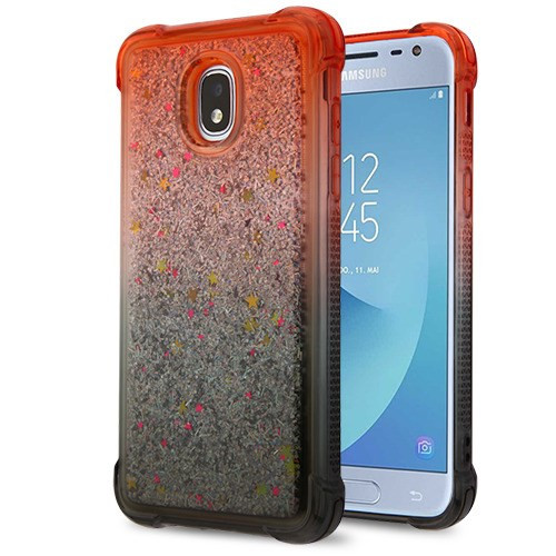 Airium Quicksand Glitter Hybrid Protector Cover for Samsung J337 (Galaxy J3 (2018)) - Red and Black / Silver Confetti