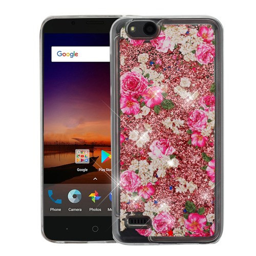 Airium Quicksand Glitter Hybrid Protector Cover for Zte Fanfare 3 - European Rose & Rose Gold
