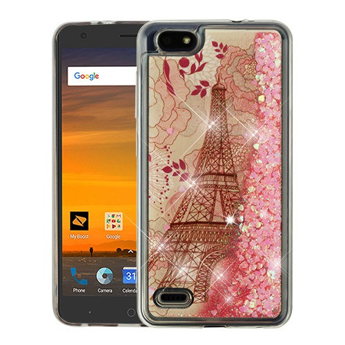 Airium Quicksand Glitter Hybrid Protector Cover for Zte N9517 (Blade Force) - Eiffel Tower & Pink Hearts