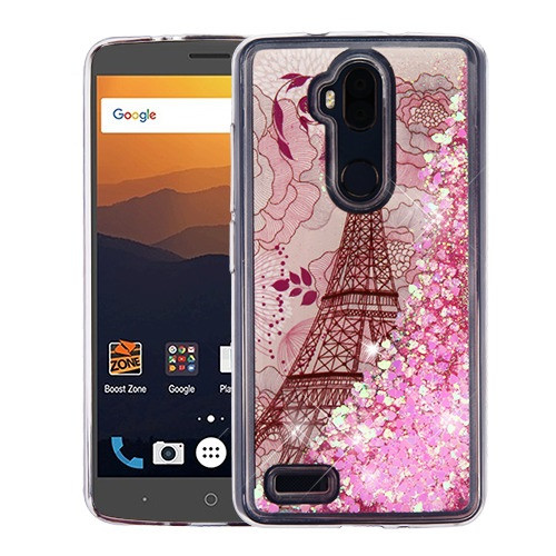 Airium Quicksand Glitter Hybrid Protector Cover for Zte N9560 Max XL - Eiffel Tower & Pink Hearts