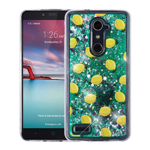 Airium Glitter Hybrid Protector Cover for Zte Z981 (Zmax Pro) - Lemon & Green Quicksand (Hearts)