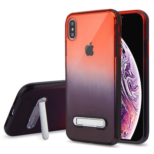 Airium and Black Hybrid Protector Cover (with Magnetic Metal Stand) for Apple iPhone XS Max - Black / Red