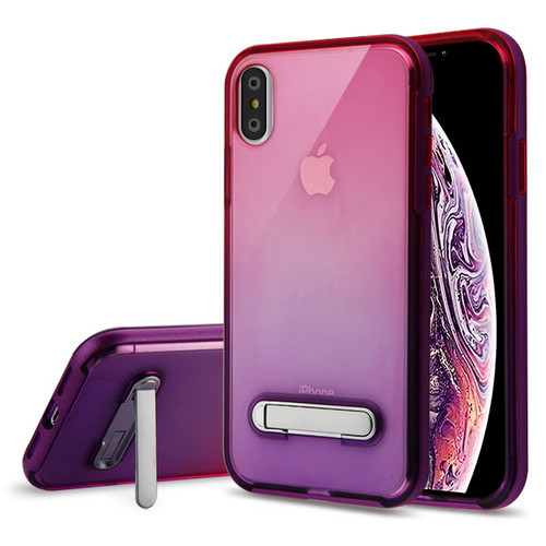 Airium Hybrid Protector Cover (with Magnetic Metal Stand) for Apple iPhone XS Max - Purple / Hot Pink and Purple