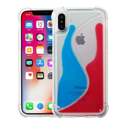 Airium Hybrid Protector Cover for Apple iPhone XS/X - Transparent S-shaped Blue / Red Oil AquaLava